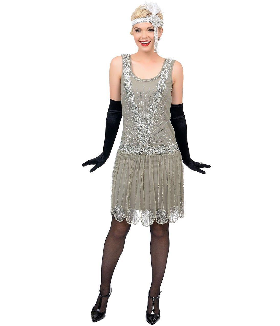 1920s Style Grey & Silver Sequin Hand Beaded Zelda Flapper Short ...