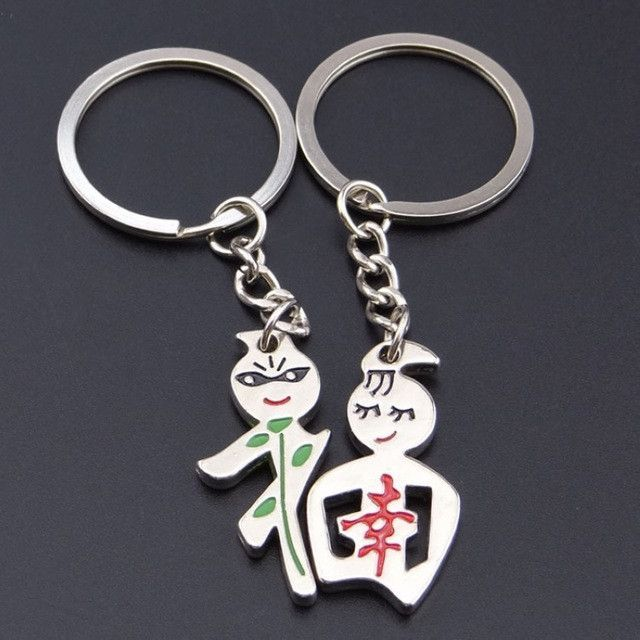 Novelty Anime Couple Key Chain Men Silver Tone RIng Lovers Keychain Women  Jewelry Souvenir Wedding Female Valentines Day Gift fb2ca8a103