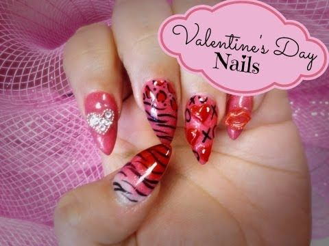 valentine's day nails tutorial for those you do gel and