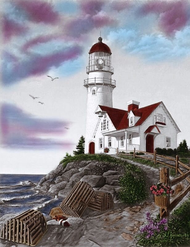 Artist Painting Folk Art Paintings Landscape Acrylic Watercolor Oil Scenery Lighthouse