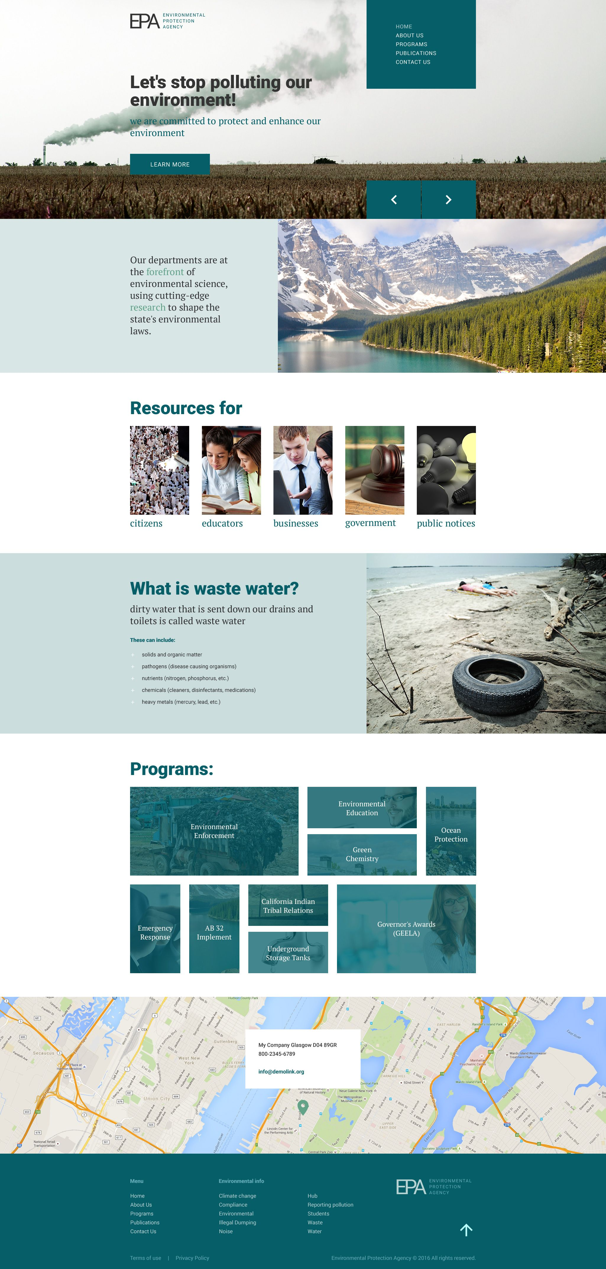 Environmental Protection Agency Website Template  Website Flat