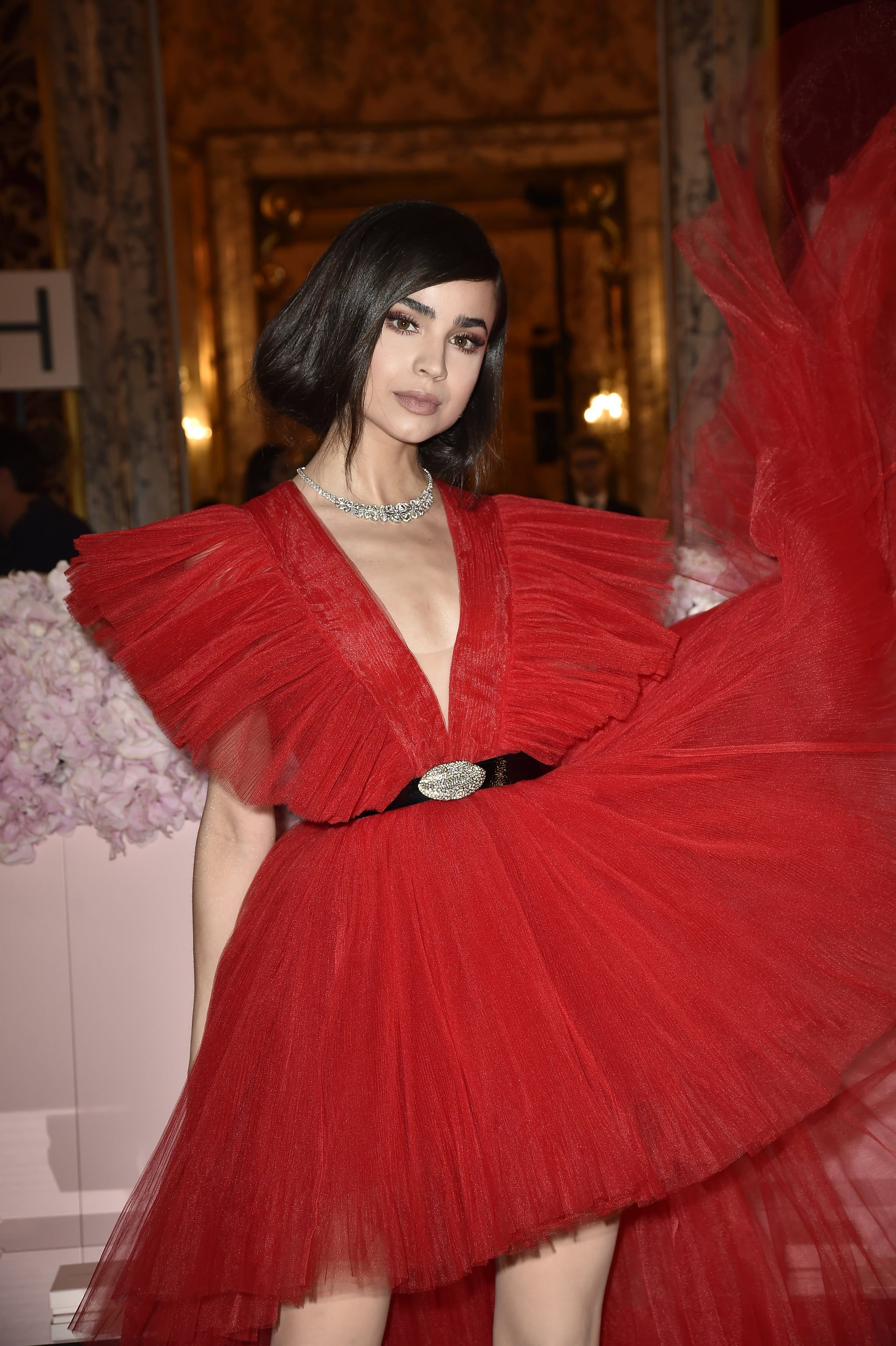 Sofia Carson Brought the Drama to the Red Carpet in This Show-Stopping Holiday Dress by H&M