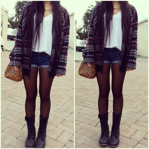 the most perfect outfit for fall... sweater, shorts, combat boots, tights