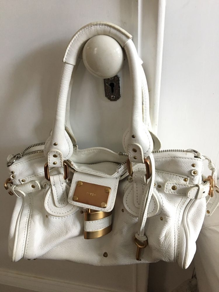 3ce1567a3519 Authentic Chloe Paddington Lock & Key Handbag Purse Satchel White Leather
