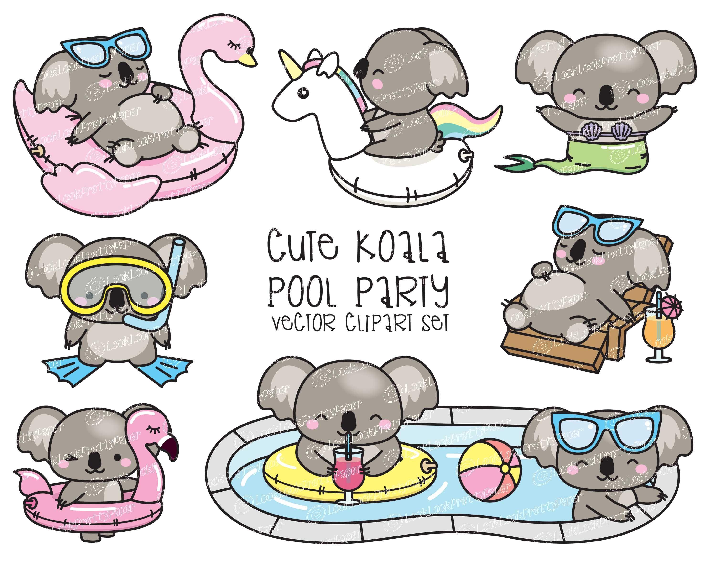 Premium Vector Clipart Kawaii Koala Cute Koala Pool Party Clipart Pool Party Instant Download Kawaii Clipart Kawaii Clipart Koalas Koala
