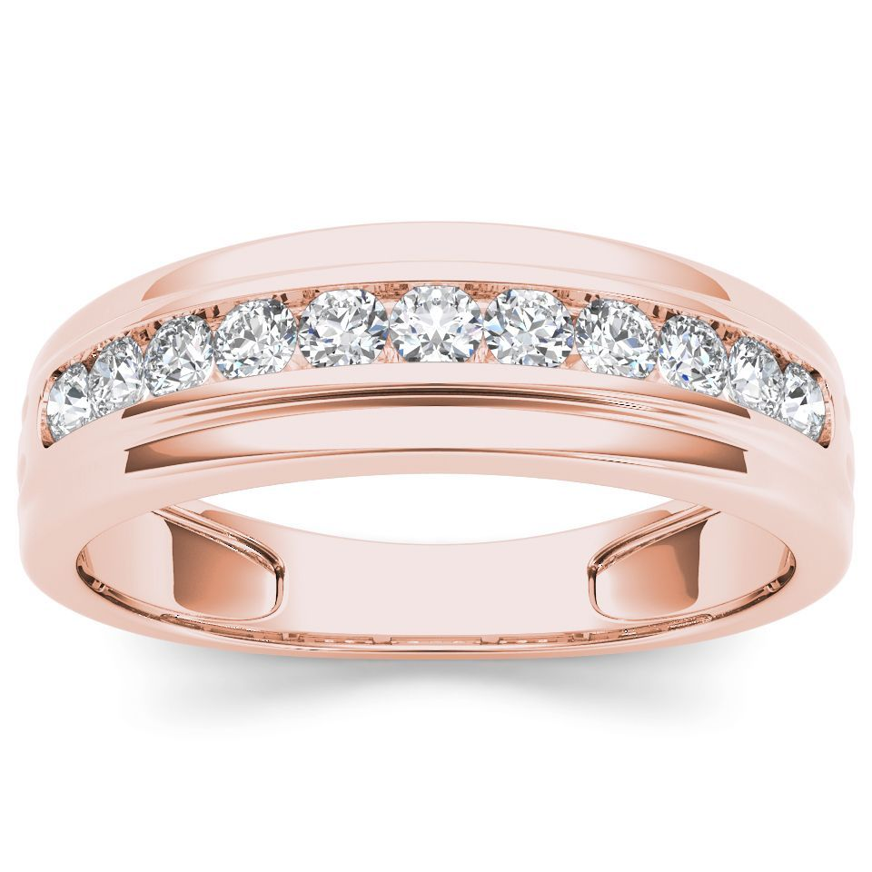 Seal Your Commitment To Him With This Rose Gold Wedding Band That Is Just His Styl Mens Diamond Wedding Bands Diamond Wedding Bands Mens Rose Gold Wedding Ring