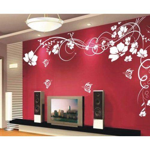 Purple Tulip Flowers Kitchen Vinyl Wall Stickers Home: Wall Sticker Wall Decor Flowers With Butterfly And Vines