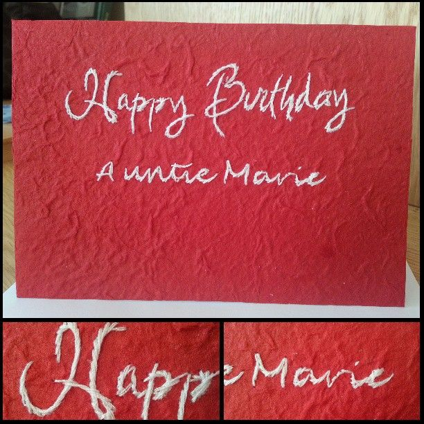 Personalised handmade birthday card with red handmade paper and personalised handmade birthday card with red handmade paper and white happy birthday recipient name bookmarktalkfo Images