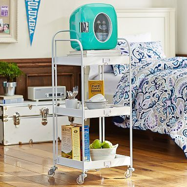 Trinity Trishelf Rolling Cart Retro Cooler Dorm Storage