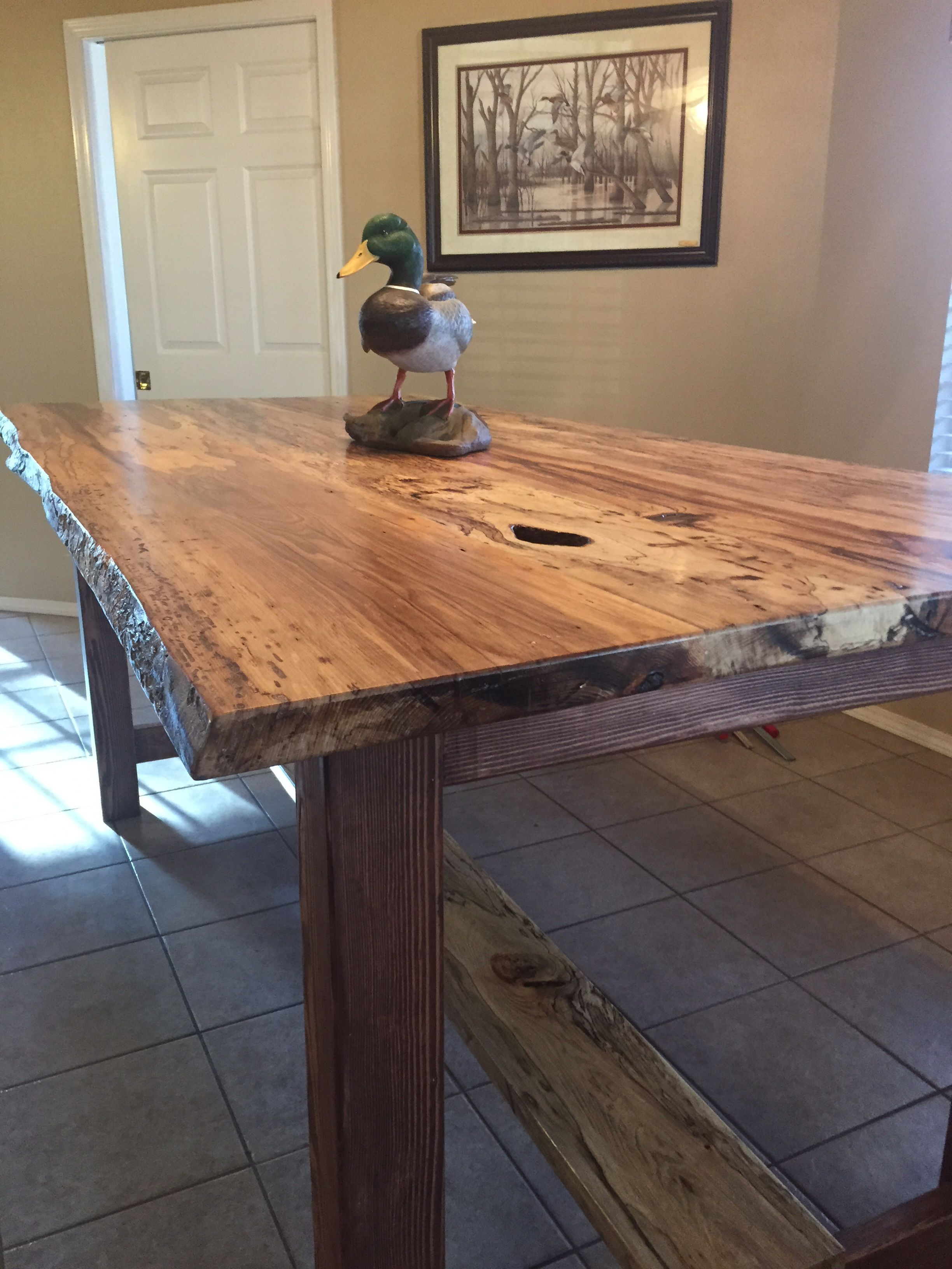 Live Edged Spalted Hickory Dining Table Bar Height And 7 Long