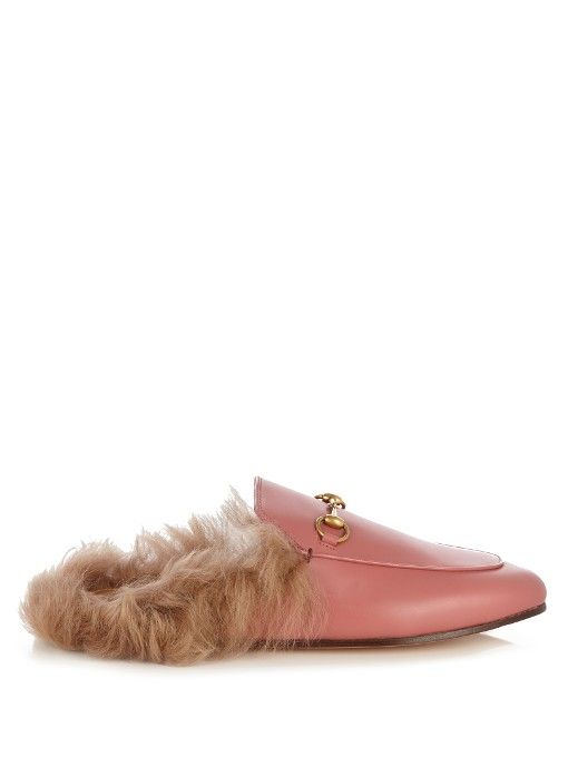 453f9b113c3 GUCCI Princetown Fur-Lined Leather Backless Loafers.  gucci  shoes  flats