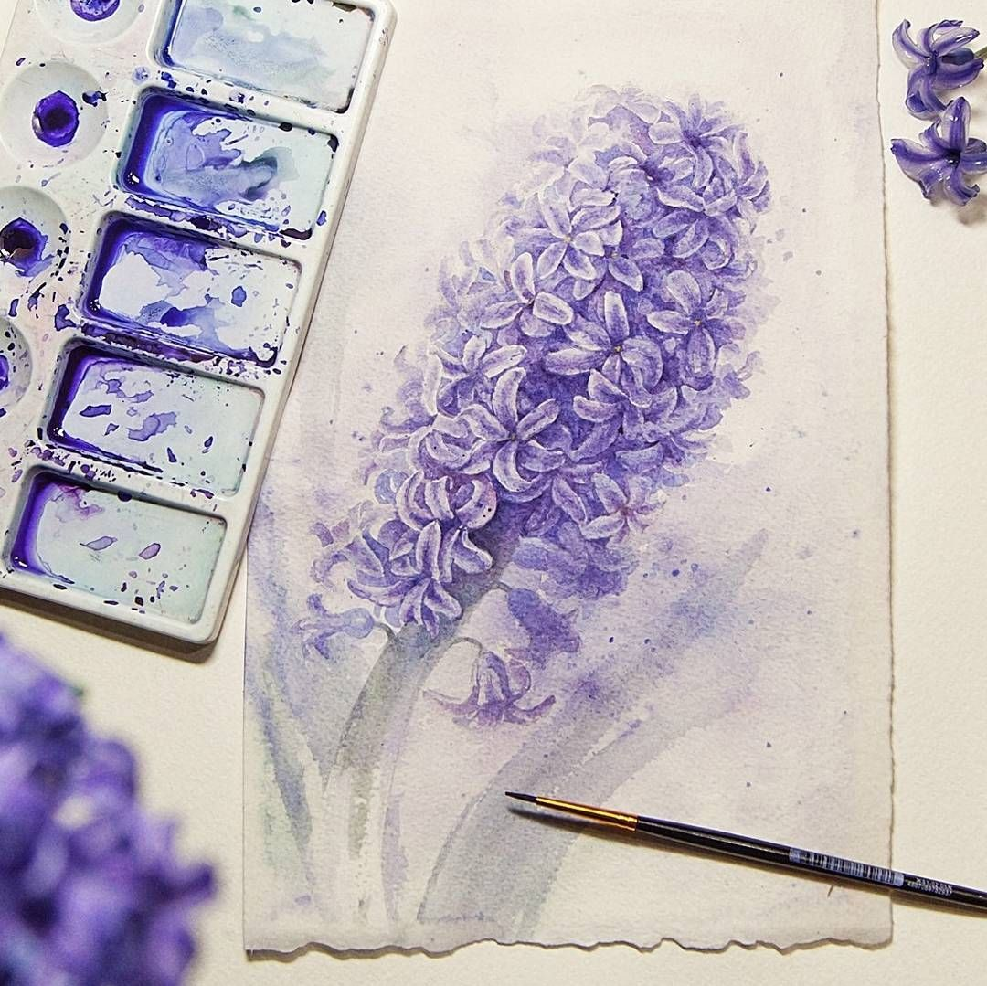 Hyacinth warecolor spring a full tutorial on how to draw
