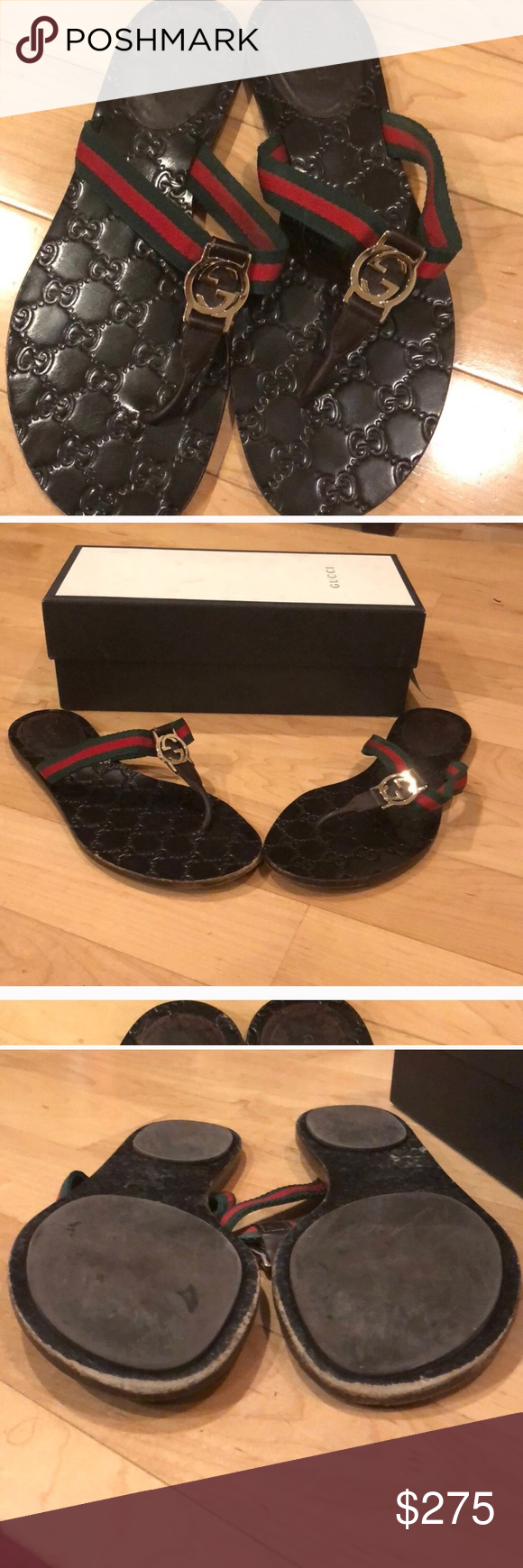 adddbc1607d1bb Gucci authentic sandals 39 1 2 Lots of wear left really good condition with  original box 2 duster bags red green ribbon straps in stores now original  420+ ...