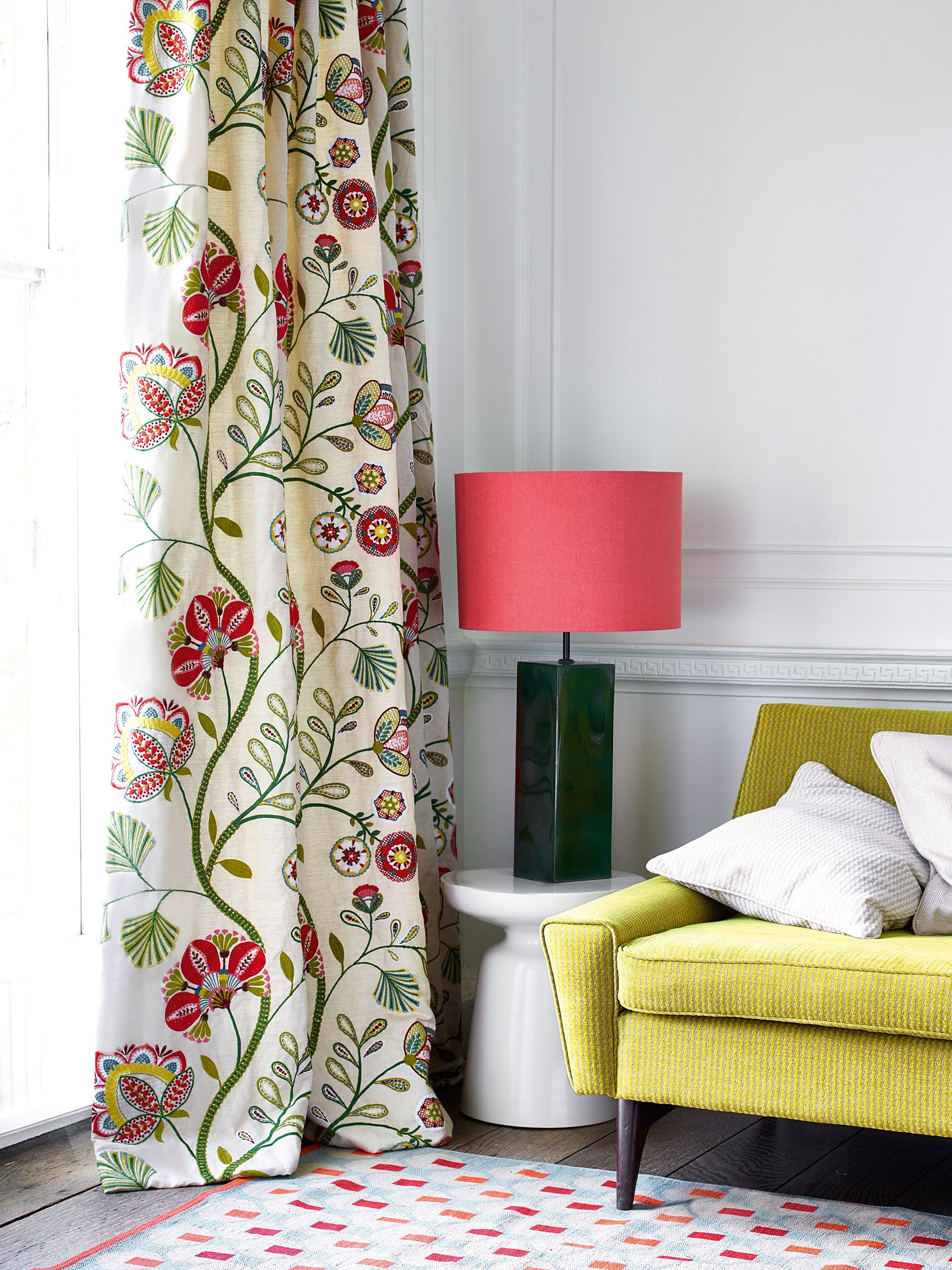 Curtain in carimbo and sofa in lucas by jane churchill sitting