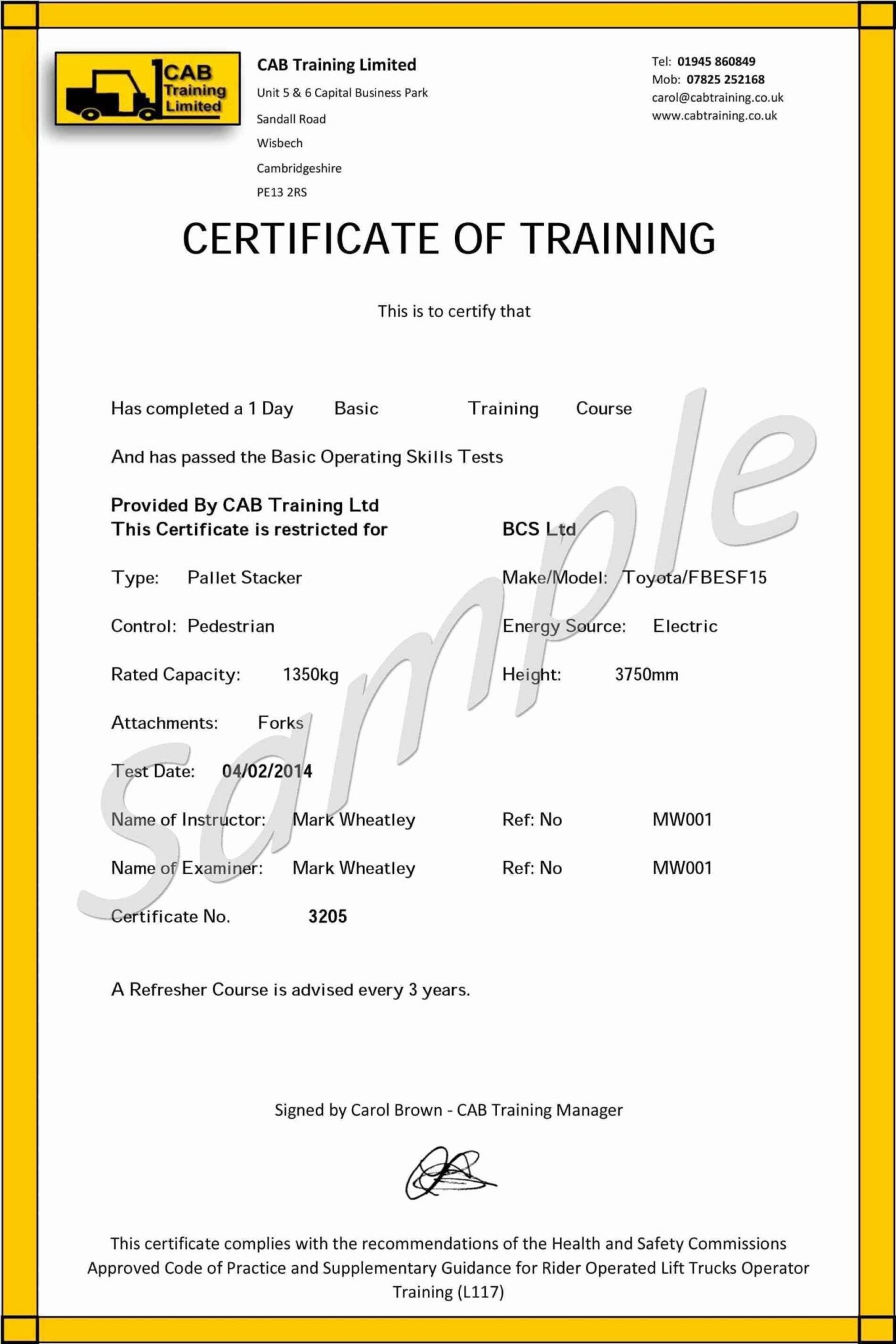 Forklift Operator Card Template Carlynstudio With Regard To Forklift Certificati In 2020 Certificate Templates Card Templates Free Certificate Of Completion Template