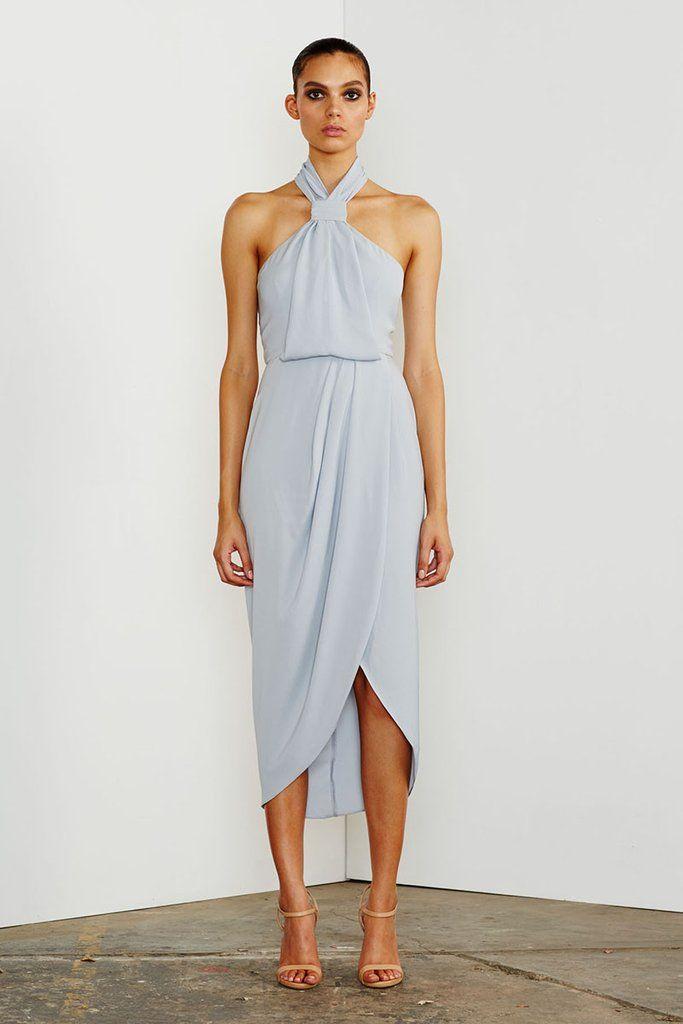 cb6550d03289 Shona Joy - CORE KNOT DRAPED DRESS - POWDER BLUE | Dressed Up ...