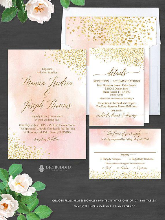 Blush Watercolor + Gold Foil 3Pc WEDDING SUITE Invitation Set