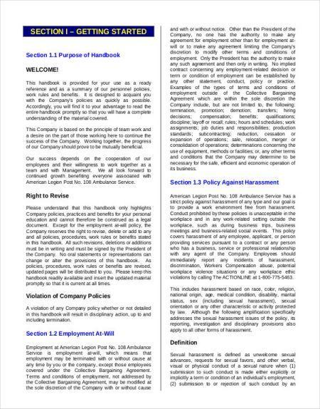 employee handbook templates  detailed guide on employee handbook  40 free templates