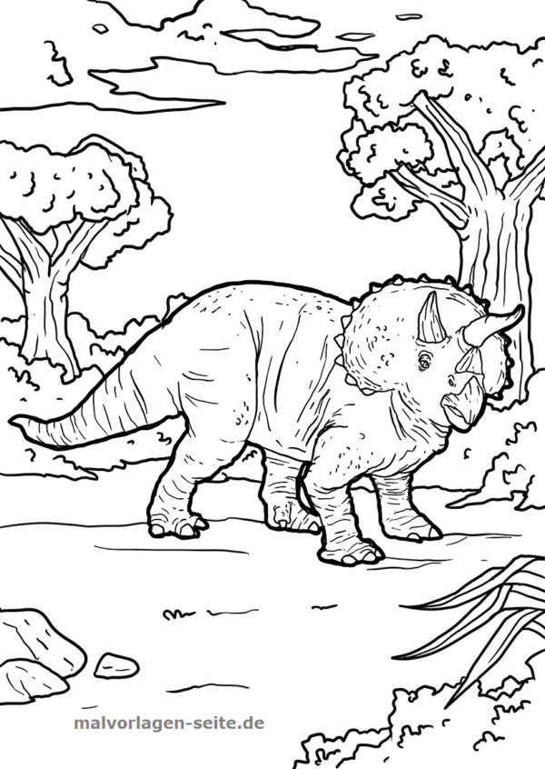 ausmalbilder dinosaurier malvorlagen triceratops