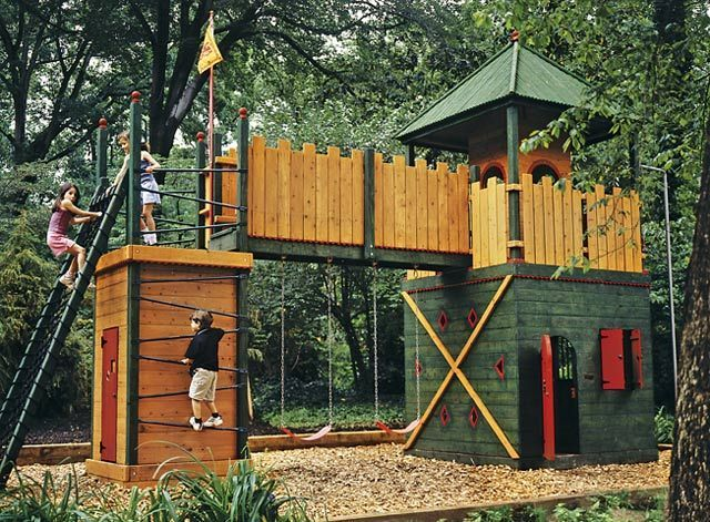 house cool castle style backyard playground