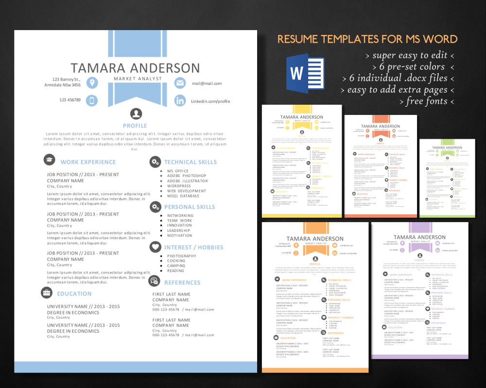 2 in 1 ribbon word resume pack by inkpower on creative market - Microsoft Word Resume Template 2013 2
