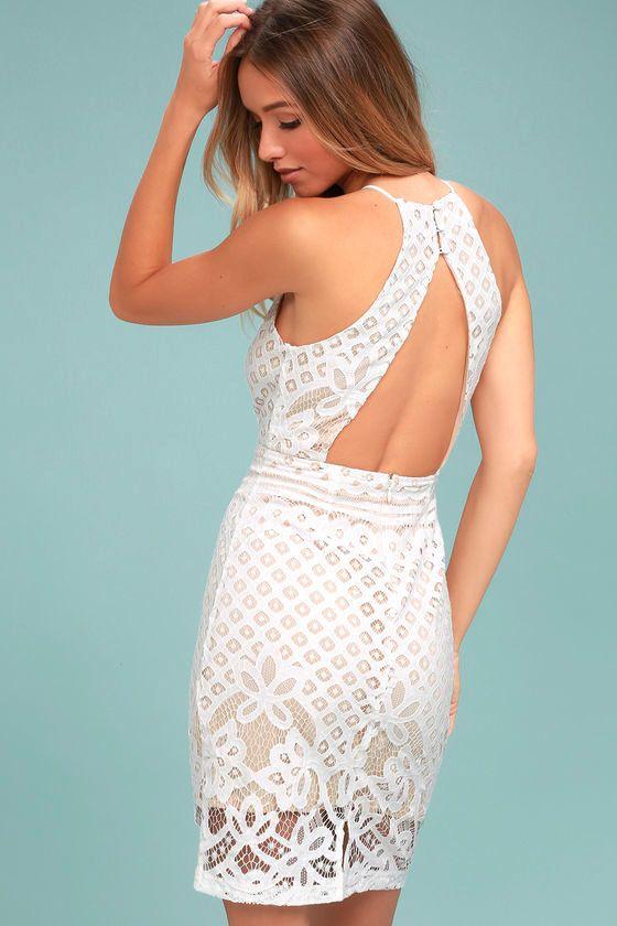 Lace dress back cutout tops