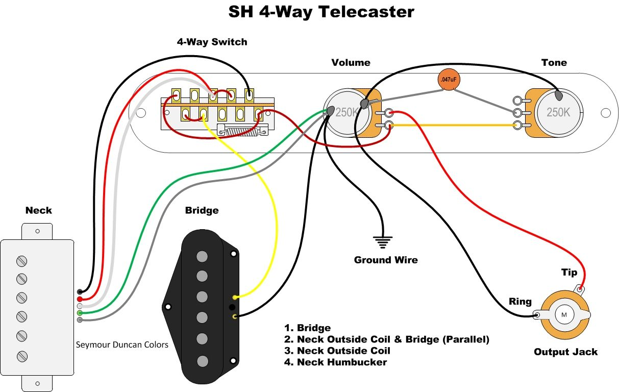 Telecaster Humbucker In Neck 4 Way Switch Wiring Diagram
