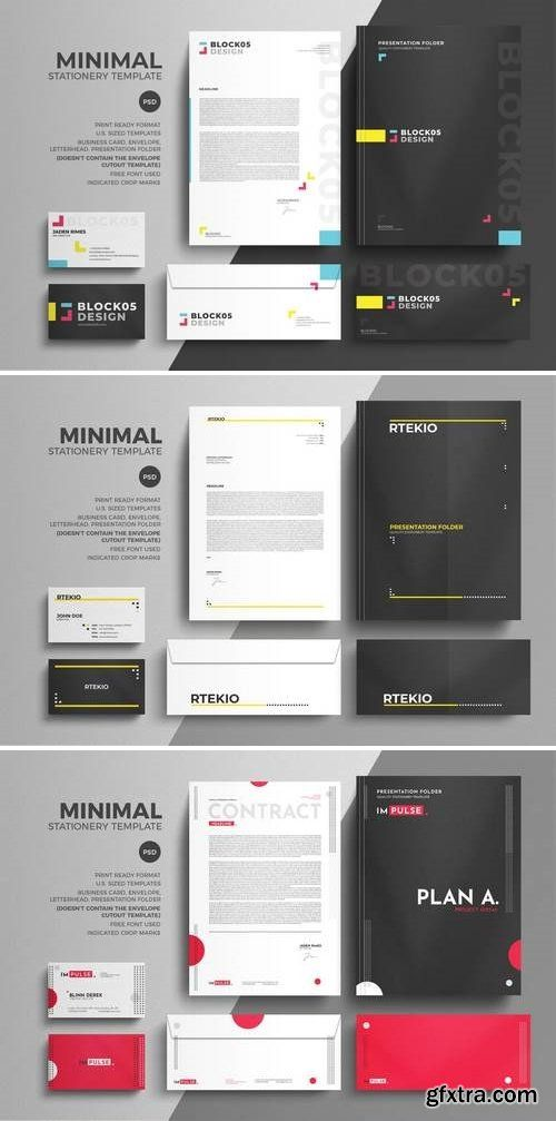 minimal corporate stationery design template bundle photoshop
