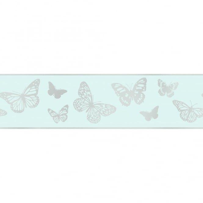 Glitz Butterfly Glitter Wallpaper Border Teal / Silver ...
