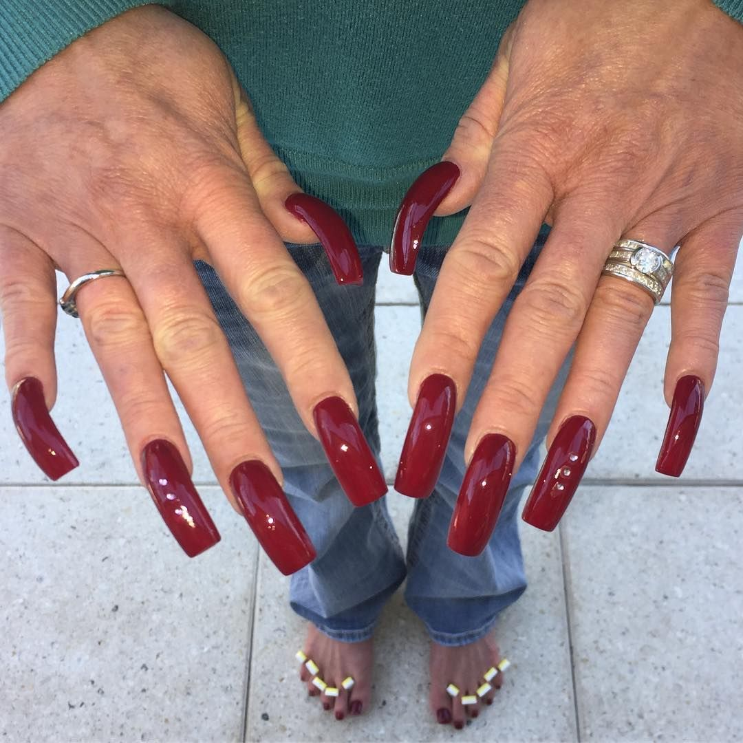 Long red finger nail fetish