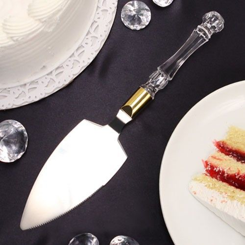 """Plus de Gateau"" Crystal-like Acrylic Handled Cake Server with Gold Band - CLEARANCEfavors.com"