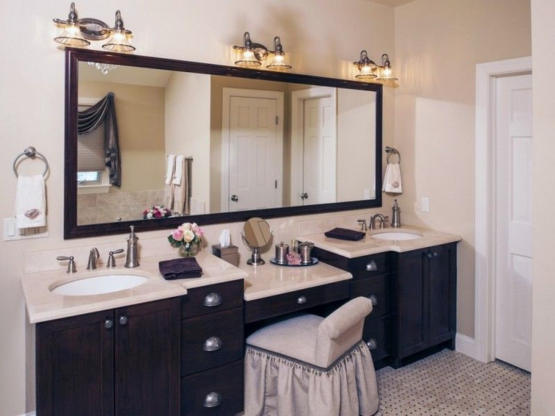 Double Sink Bathroom Vanity With Makeup Area New House Bathroom