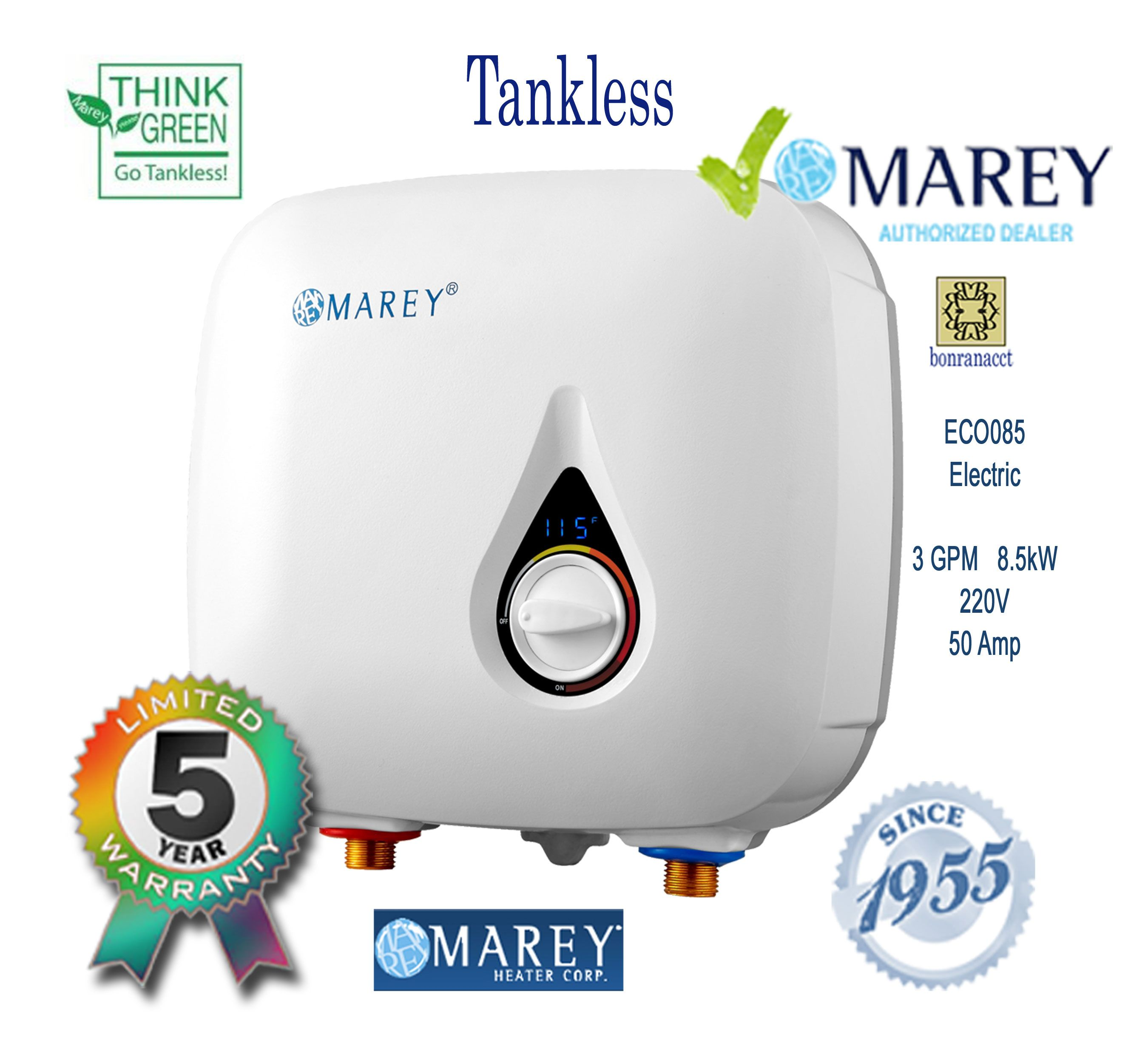 Marey Eco085 Point Of Use Water Heater 3 Gpm 220 Volt Eco085 179 99 Water Heater Tankless Water Heater Heater