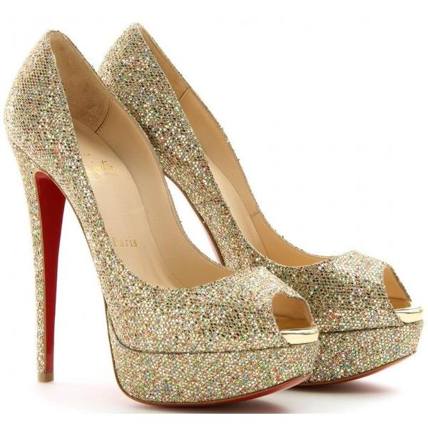 729418ecd585 Christian Louboutin Lady 150 Glitter Peep-Toe Sandals ❤ liked on Polyvore  featuring shoes