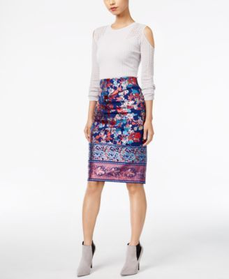 One A Open-Knit Cold-Shoulder Sweater & ECI Metallic-Print Pencil Skirt