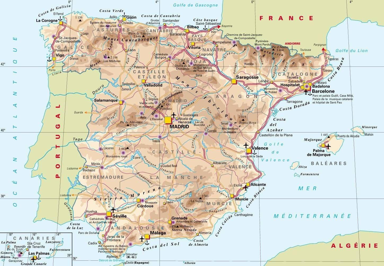Carte De L Espagne Decouvrrir L Espagne Sous Forme De Carte