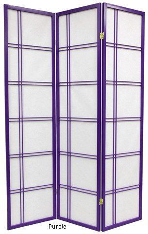 Double Cross Japanese Shoji Folding Privacy Screen Room Divider   6 Panel  Purple By