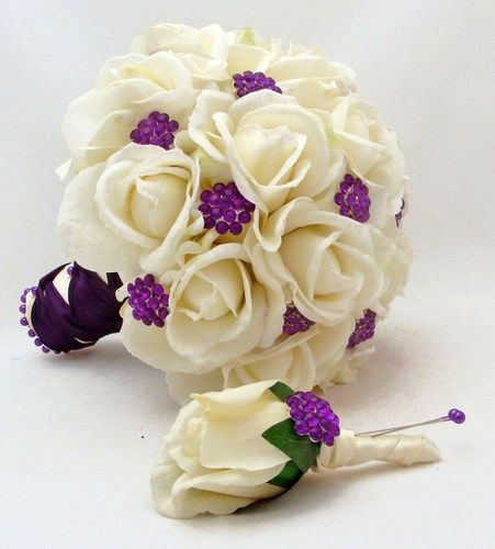 Bridal Bouquet Real Touch Roses & Purple Rhinestones Real Touch... | SongsFromTheGarden - Wedding on ArtFire