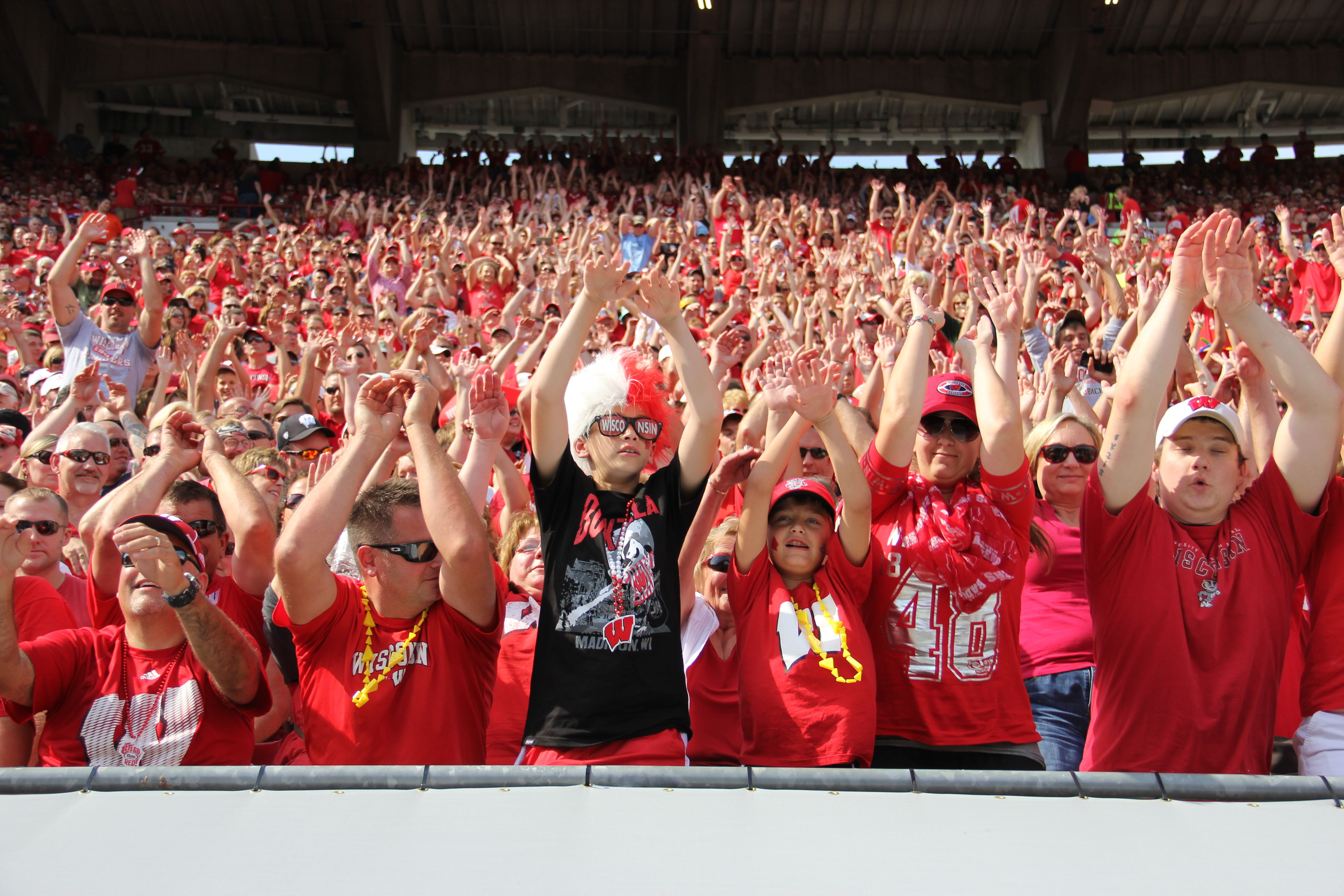 Fans do the wave at Badgers vs. South Florida Sept. 27, 2014.