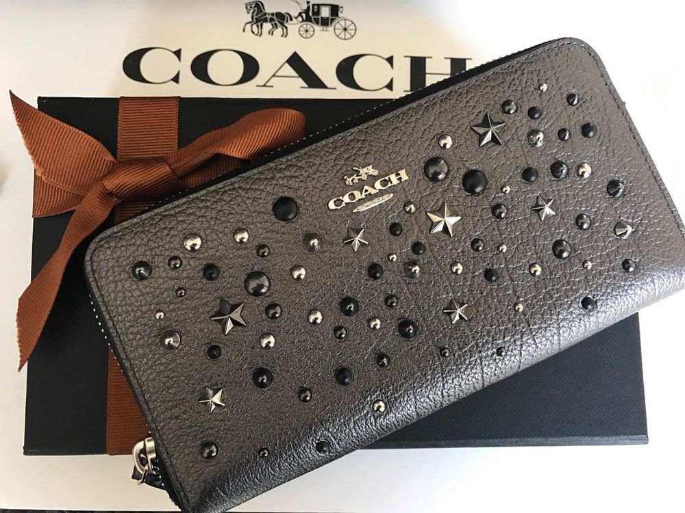 half off 2f68c 3ccf4 Coach Leather Metallic Graphite Star Rivets Market Accordian ...