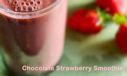 Chocolate Strawberry Smoothie  Ingredients: 1-2 Tbsp. Raw Cacao 1-1/2 Cup Strawberries 1 banana A Handful of greens (I used strawberry leaves) 1-2 Tbsp. chia seeds 1-2 Tbsp. ground flax seeds Coconut milk (enough to cover the other ingredients) Direction: Place all ingredients in a blender and blend until smooth.  Enjoy