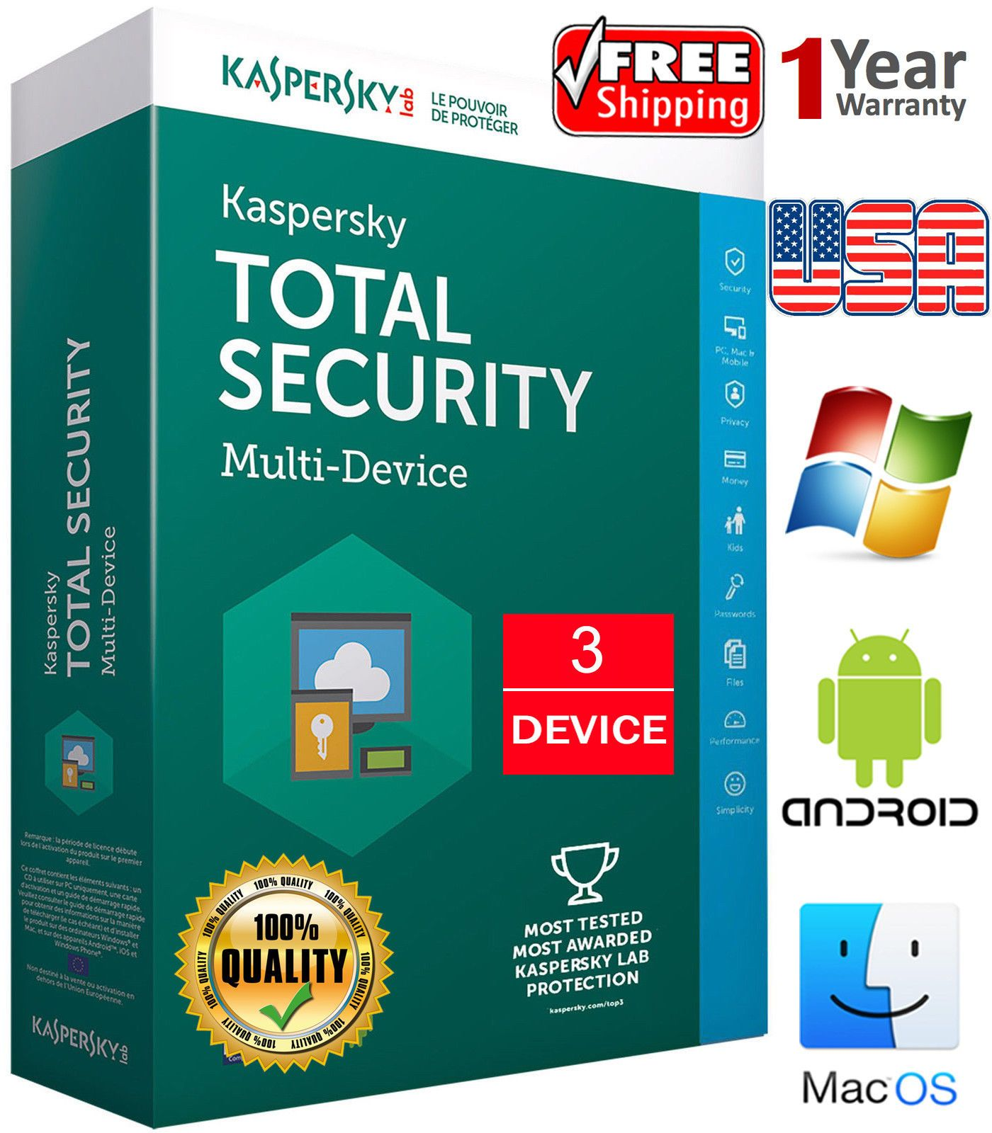 Details About Kaspersky Total Security 2020 3 Device 1 Year Regions Us Download 16 54 Security Internet Security Computer Security