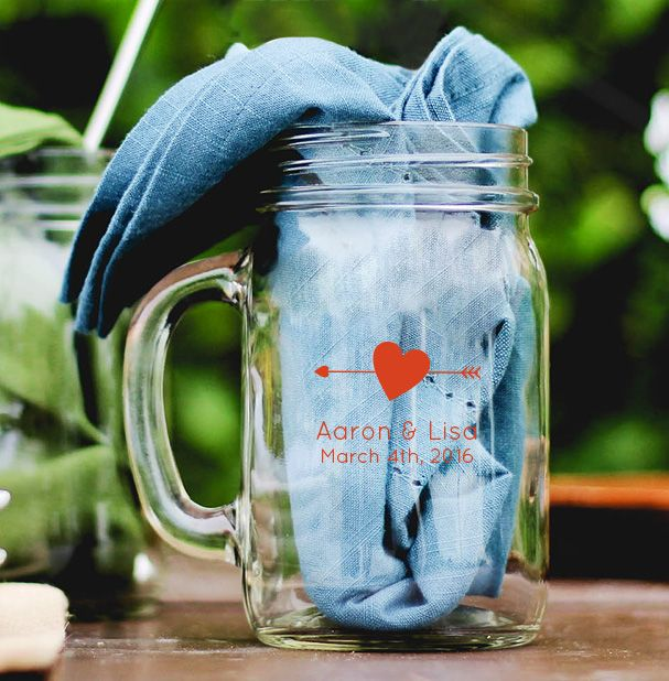 Arrow Heart Personalized Mason Jar Mug Wedding Favor Wedding Favors