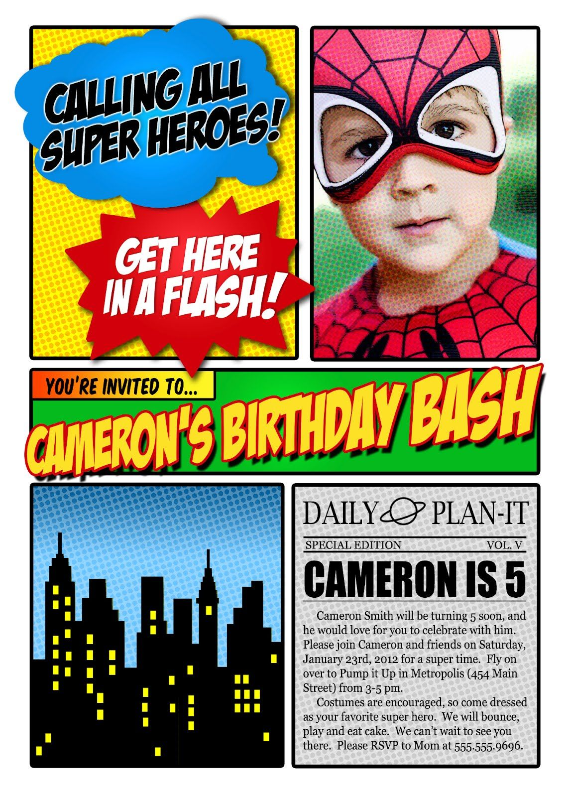 free superhero invitation maker