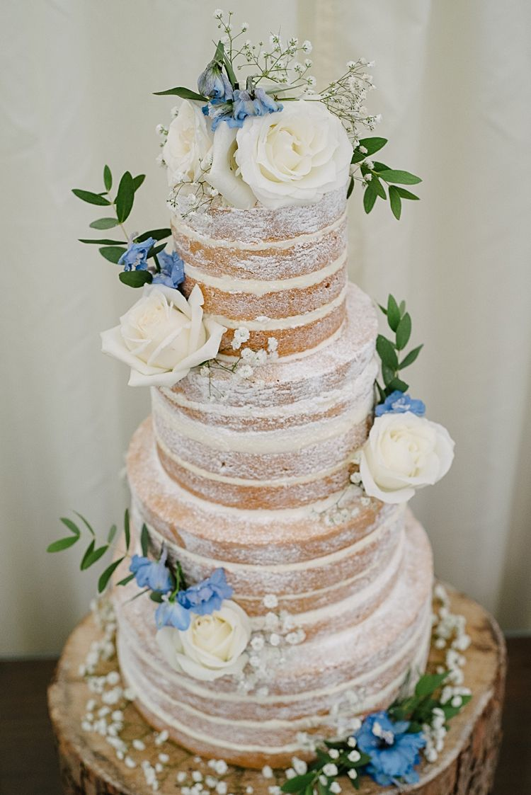 Naked Cake Rustic Pretty Pale Blue Summer Wedding http