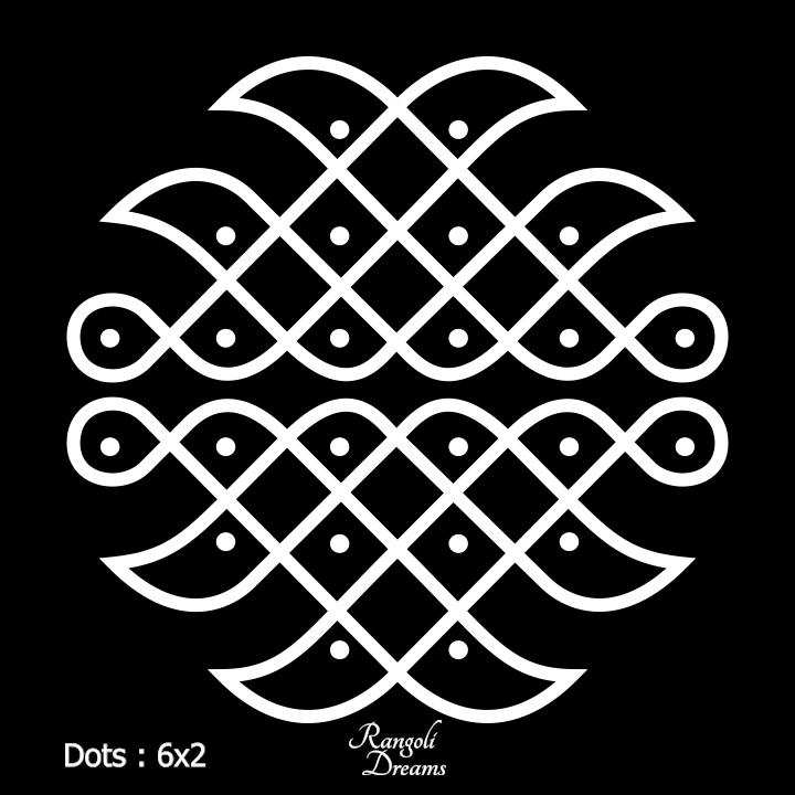 Easy Kolam designs with 6X2 dots Sikku Kolam Daily