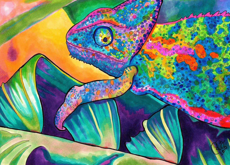 Neon Chameleon Print (Psychedelic Rainbow Neon Lizard Marker and ...