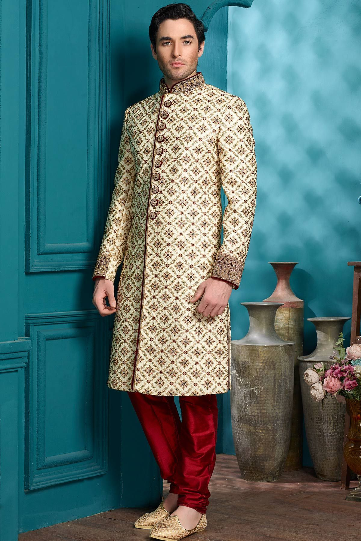 White Raw Silk Resham Embroidered Wedding Sherwani-IW1014 | Men\'s ...