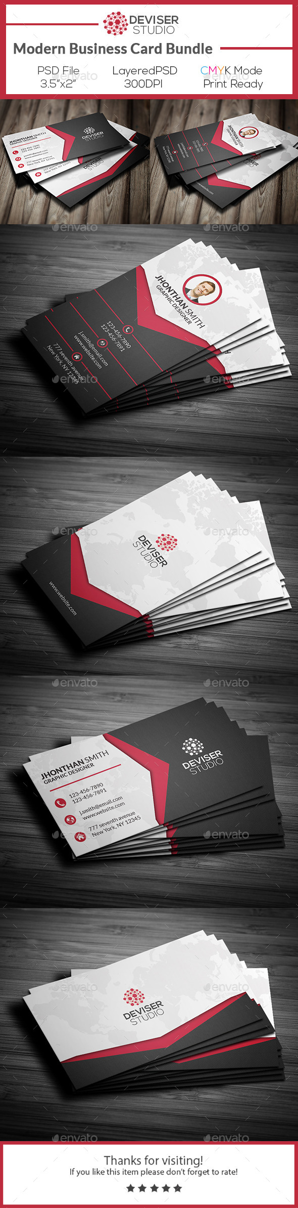 Modern Business Card Bundle - Business Cards Print Templates ...