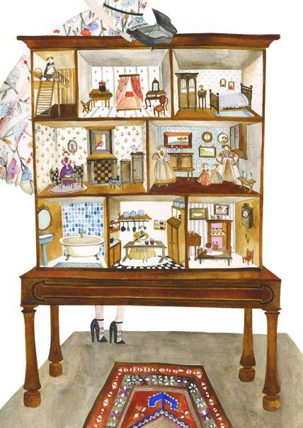 Line Art Dollhouse : Keszeg agnes miniatures pinterest cutaway
